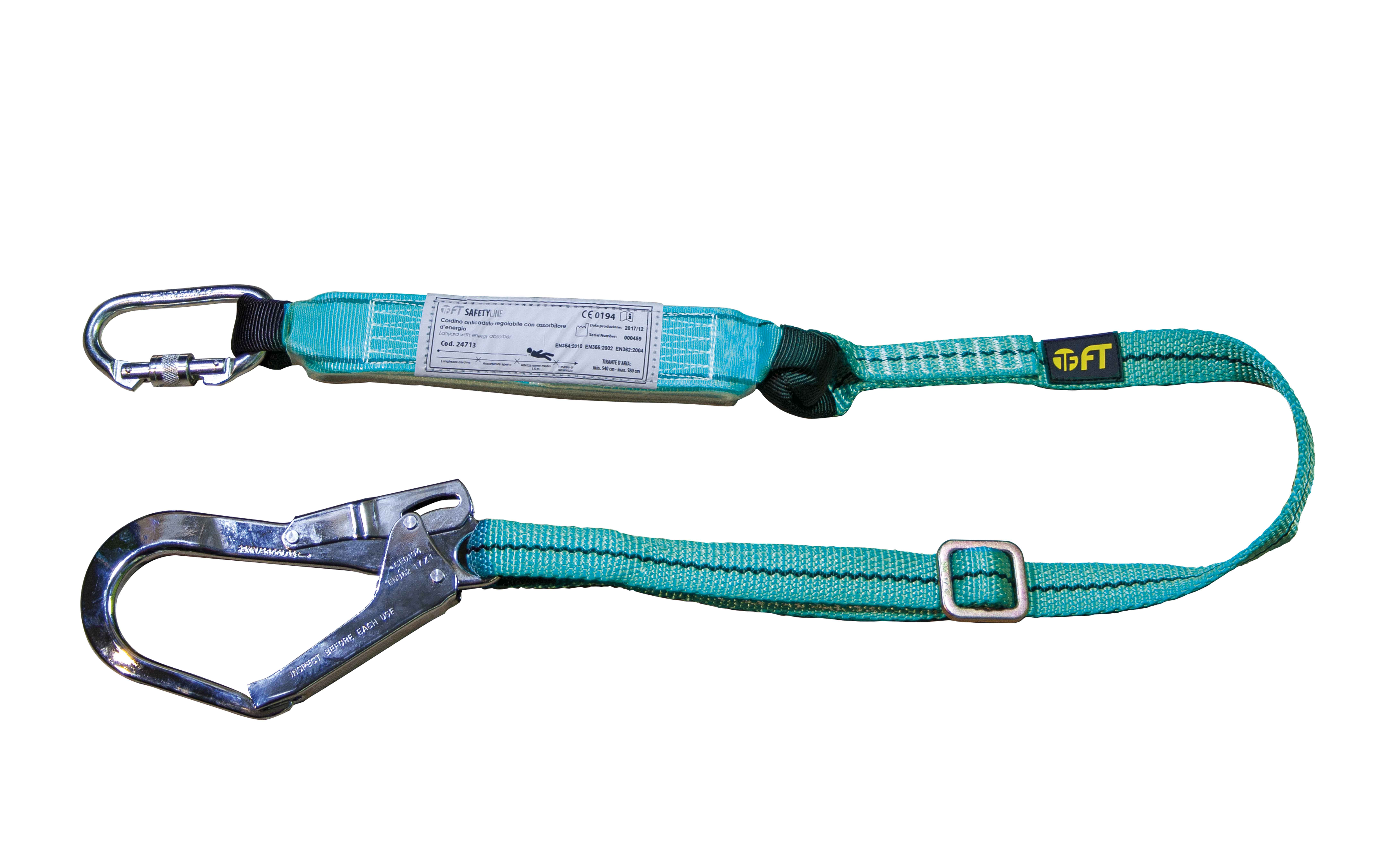 LANYARD WITH ENERGY ABSORBER 1,4/2,0 mt