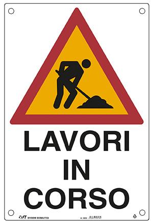 CARTELLO LAVORI IN CORSO 43X68  cm