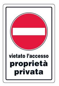 CARTELLO PROPRIETA' PRIVATA 30X20 cm