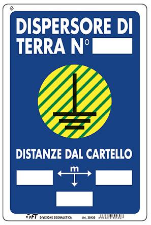 CARTELLO DISPERSORE DI TERRA 30X20 cm